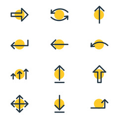 Vector Illustration Of 12 Arrows Icons. Editable Pack Of Up, Update, Loading And Other Elements.