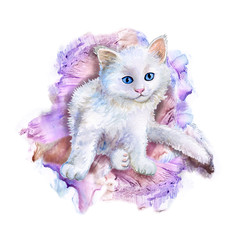 White kitten with a colored background. Blot. Spot. Watercolor. Illustration