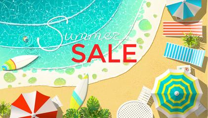 Summer sale announcement on beach