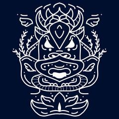 Ethnic mask icon. White tribal mask. Face tribal tattoo