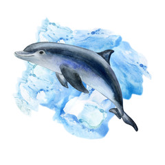 Dolphin and the sea. Blue background. Monotype. Watercolor. Template. Picture.