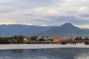 Sunset over river in Kampot, Cambodia.