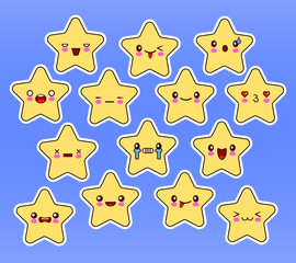 Kawaii stars set, face with eyes, yellow color on blue background. Vector illustration