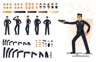 Stylized policeman, flat vector illustration. Set of different elements, emotions, gestures, body parts for character animation, isolated on white background.