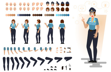 Stylized police girl, flat vector illustration. Set of different elements, emotions, gestures, body parts for character animation, isolated on white background.