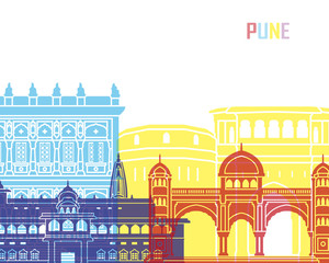 Wall Mural - Pune skyline pop