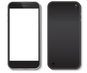 Black Mobile Phone front and back side vector illustration