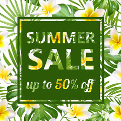 Tropical vector sale design with bright flowers and exotic palm leaves on dark background.