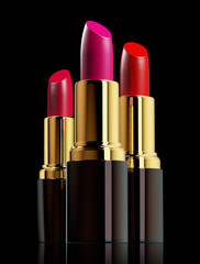 Red lipsticks on black background.