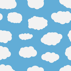 Seamless background with blue sky and white cartoon clouds. Vector illustration.