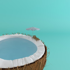 A half coconut with sea water inside and sun lounger on the edge on pastel background for summer relax concept. 3d rendering