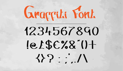 Graffiti Font Numbers & Symbols