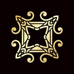Golden ornamental abstract vintage logo on dark background. Template for design