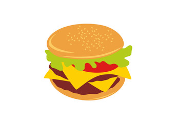 Hamburger vector illustration. Hamburger cartoon. Hamburger on a white background