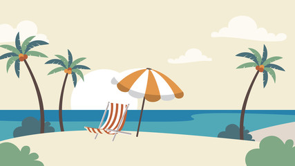 Holiday Vacation Background. Seaside with palm trees Vector template for advertise, travel agency, banner, projects
