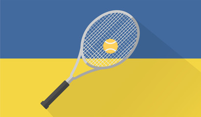 tennis ball and racket on ukraine flag background