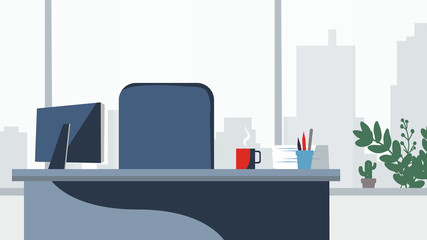 Office desk background Vector. Workplace business style. Table and computer. Flat style illustration