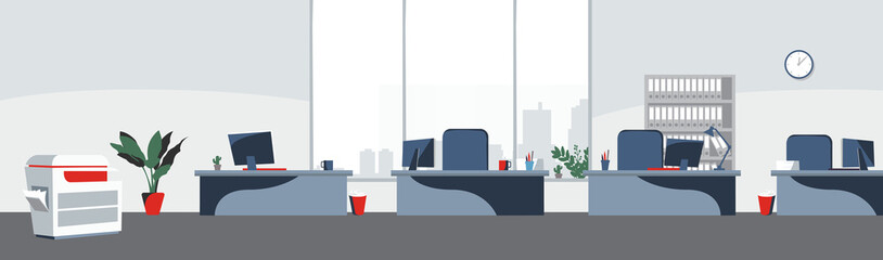 Office desktops background Vector. Workplace business style. Table and computers in an openspace. Flat style illustration
