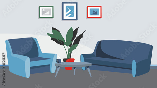Home Livingroom Background With Sofa And Armchair Vector For Cartoon Animation Advertise Campaing