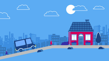 Car driving to An old downtown house. Vector city background. Vector Red retro style vehicle Blue and red color scheme