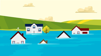 Houses flooding under water Vector. Nature disaster. Global warming