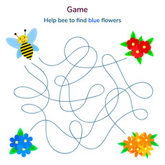 vector illustration. game for children. maze or labyrinth for kids. cartoon cute bee and flower. tangled road.
