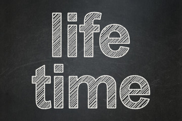 Timeline concept: Life Time on chalkboard background