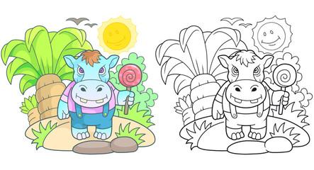 Cartoon cute hippopotamus funny image