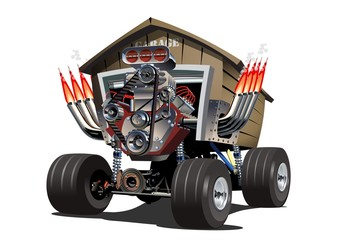 Cartoon Garage Truck. Available EPS-10 separated by groups for easy edit