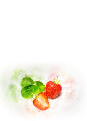 Hand-drawn watercolor  strawberry on a white background