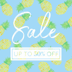 Pineapples - Watercolor Sale Banner Blue
