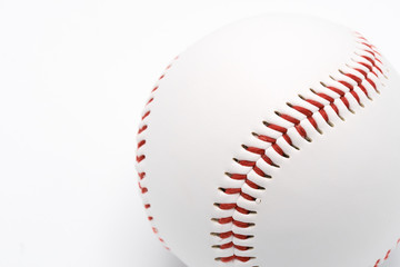 Isolated baseball on a white background and red stitching baseball.