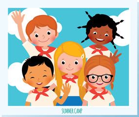 Polaroid photo group of happy children of different nationalities in the summer camp. Stock Vector Cartoon Illustration.