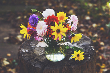 Bunch of colorful autumn flowers in glass jar