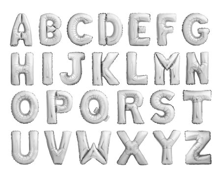Full alphabet of silver metallic inflatable balloons isolated on white background