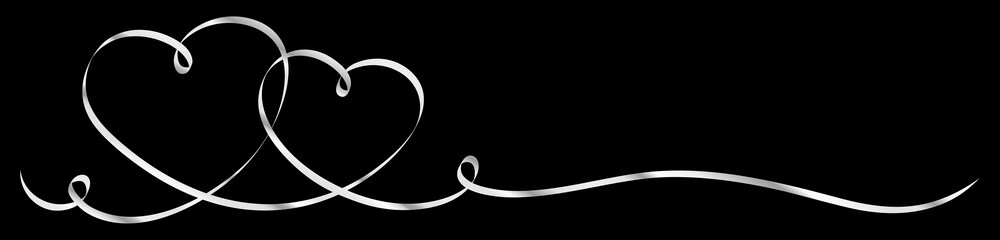 2 Connected Silver Calligraphy Hearts Ribbon Banner Black