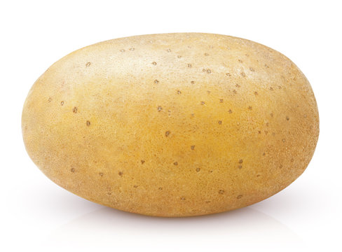 Closeup of single potato isolated on white background with clipping path