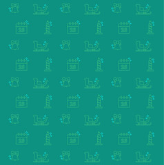 vector christmas pattern with linear icons