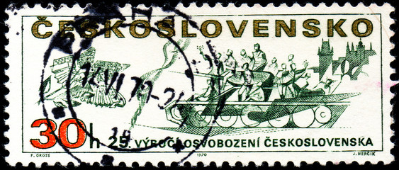 UKRAINE - CIRCA 2017: A stamp printed in Czechoslovakia shows 25th anniv. of the liberation of Czechoslovakia, from series Prague Uprising, Liberation of Czechoslovakia, 25th Anniv., circa 1970