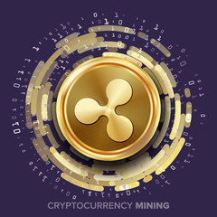 Mining Ripple Cryptocurrency Vector. Golden Coin, Digital Stream. Futuristic Money. Fintech Blockchain. Processing Binary Data Arrays Operation. Cryptography, Financial Technology Illustration