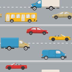 Seamless pattern with urban transport on the road - cars, trucks, bus