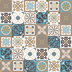 Foto auf Acrylglas Marokkanische Fliesen Portuguese traditional ornate azulejo, different types of tiles 6x6, seamless vector pattern in natural colors, beige, creme and white