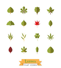 Leaves variety flat isolated icon set