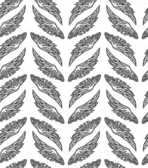 Repeated pattern. Seamless texture with beautiful black wings on a white background.  It can be used as wallpaper, printing, wrapping, fabric or background for your blog and your design.