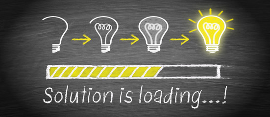 Solution is loading - big idea and creativity light bulb concept
