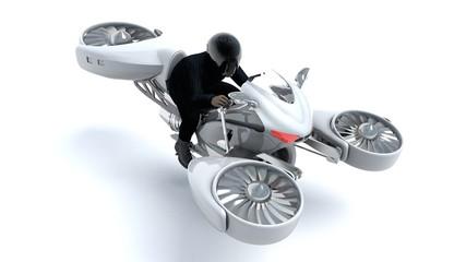 3D illustration of man riding a hover bike
