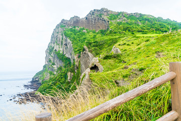 View of SeongSan Ilchulbong (Volcanic Cone) in Jeju Island.