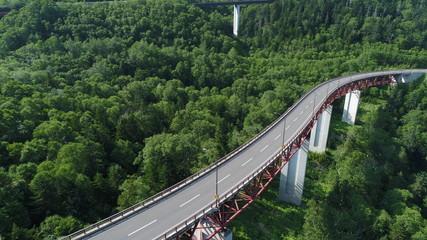 北海道 三国峠 8月 9月 10月 樹海 国道 橋 道 橋脚 ドローン 空撮 二本 ドライブ デート 風 爽やか