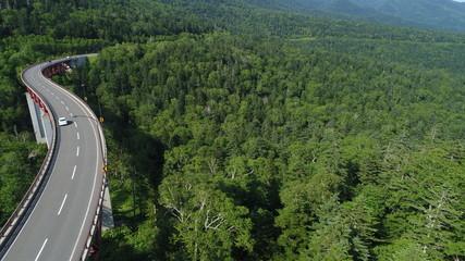 北海道 国道 夏 7月 8月 ドライブ デート 橋 晴れ 晴天 空撮 松見大橋 三国峠 273号線 標高 高い 車
