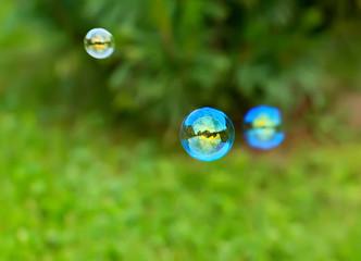 Blurred soap bubbles.